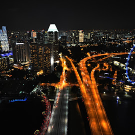 Black, Orange, Blue. by Marcel Cintalan - City,  Street & Park  Night ( lights, traffic, streets, night, bridges, singapore, city )