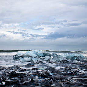 Ice and sand by Vala Valgeirsdóttir-Vincent - Landscapes Waterscapes ( glacier, water, sand, ice, black beach, ocean, beach )