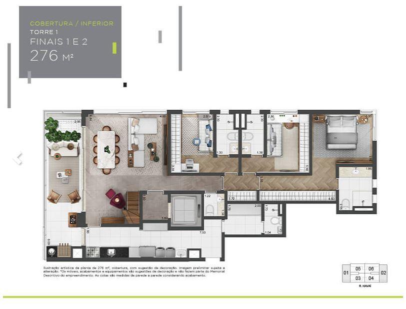 Planta Cobertura Inferior - 276 m²