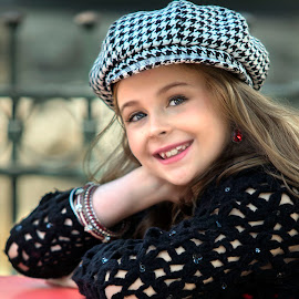 Checker Hat by Sylvester Fourroux - Babies & Children Child Portraits