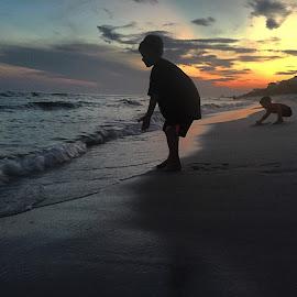 Sunset Silhouette on the Sand by Lauren Renwick - Babies & Children Children Candids ( beaches, sunset, boys, silhouettes )