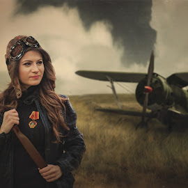 Night Witches  by Sergey Mayboga - People Portraits of Women ( wwii, art, portrait )