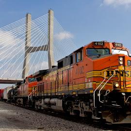 Riding the Mississippi by Dj Derve - Transportation Trains ( sunny, train, tracks, bridge, river )