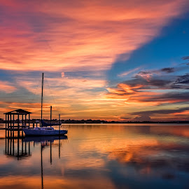 Beautiful Biloxi Back Bay Sunset by Shutter Bay Photography - Landscapes Sunsets & Sunrises ( sailboat, waterscapes, nature, waterscape, reflections, sunset, clouds, water, colors, boat )