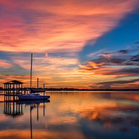 Beautiful Biloxi Back Bay Sunset by Shutter Bay Photography - Landscapes Sunsets & Sunrises ( water, clouds, nature, waterscape, colors, sunset, reflections, sailboat, waterscapes, boat )