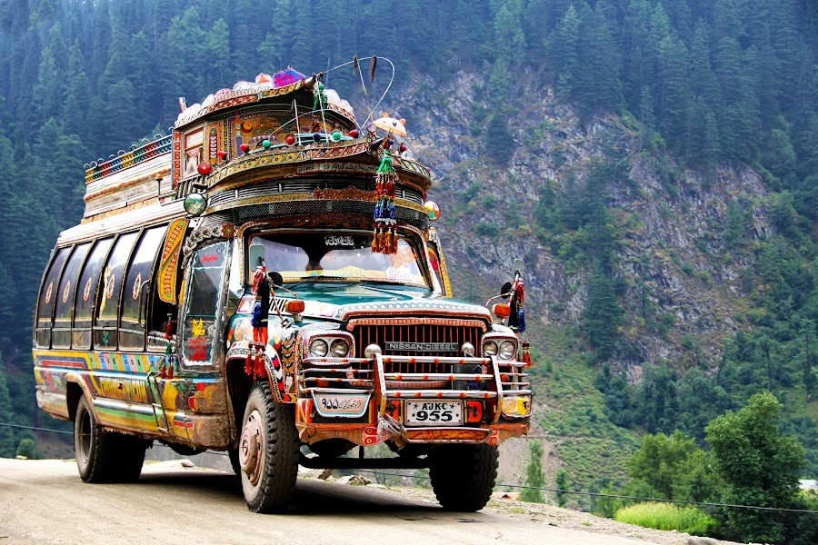 Colorful Kashmiri Bus by Fawad Awan - Transportation Other ( pakistan, mountains, neelum valley, truck art, bus, transport, colors, art, kashmir, travel, road, nissan )
