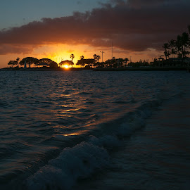 Friday Evening by Brianne Toma - Landscapes Sunsets & Sunrises ( waterscape, waves, tropical, palm trees, honolulu, beach, travel, sun, oahu, hickam, sunset, friday, pearl harbor, hawaii,  )