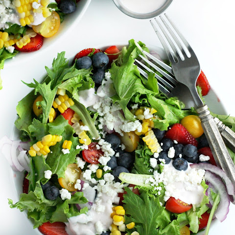 Summer Berry Salad with Creamy Raspberry Dressing