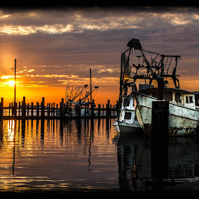 The boat that weathered the storms by Victoria Evans - Landscapes Waterscapes ( sunset, harbors, gulf of mexico, boat, fisherman, hurricanes )