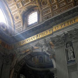 Inside the Vatican, Rome, Italy by Jo Brockberg - Buildings & Architecture Places of Worship ( interior, building, italian, indoor, architecture, vatican, saint, basilica, sun, city, religion, huge, catholic, italia, grand, rome, ray of light, cathedral, view, gold, light, italy )