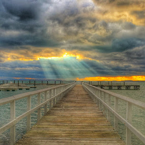Gods Rays  by Ann Goldman - Novices Only Landscapes ( gods rays, crepuscular, shining, pier, bayside,  )
