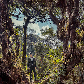 Eric by Mark Vong - Wedding Groom ( groom, forest, wedding photography, asian, dramatic )