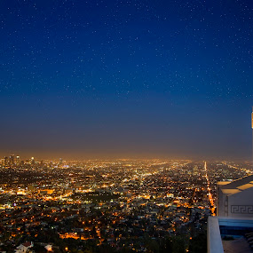 Los Angeles Above by John Souza - City,  Street & Park  Skylines ( moon, skyline, park, cali, california, street, star, cityscape, city, socal, stars, dark, la, los angeles, above, night, roads )