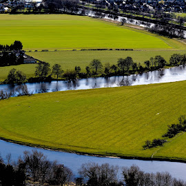 View from William Wallace Memorial by Annette Reddy-Keating - Landscapes Prairies, Meadows & Fields ( scotland, edinburgh, riverside, landscape photography, view )
