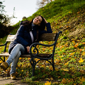 On the bench by Péter Nagy - People Portraits of Women ( girl, bench, park, autumn, women, portrait )