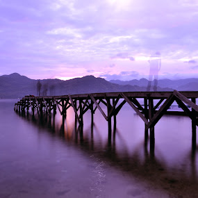 The Dock of Dutungan Island by Ahmad Irfan - Landscapes Sunsets & Sunrises ( nature, transportation, sunrise, landscape, slow speed )