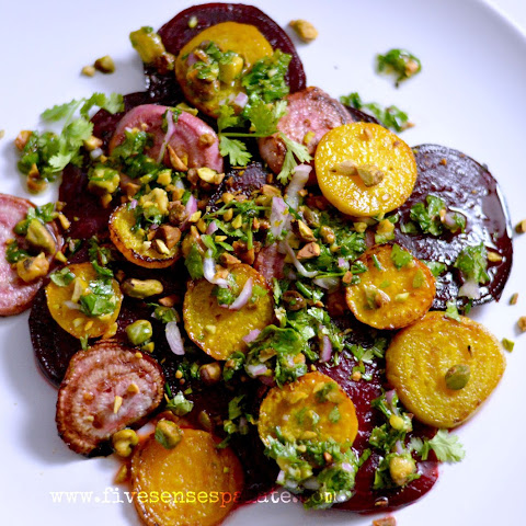 Sautéed Beets with Orange-Cilantro-Mint Dressing & Pistachios