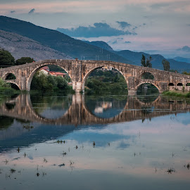 Old bridge by Dusan Arezina - Buildings & Architecture Bridges & Suspended Structures ( reflection, old, river, bridge, landscape )