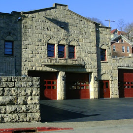 Fire House in Galena by Kathy Rose Willis - City,  Street & Park  Historic Districts ( galena, red, illinois, stone, historical, fire house, gray )
