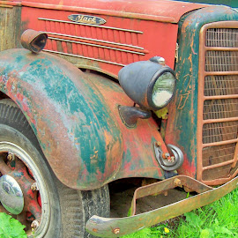 THE OLD MACK UP CLOSE by William Thielen - Novices Only Objects & Still Life ( old, grill, truck, worn, oxidation, fenders, urban, red, patina, blue, seattle, rust, mack, big )