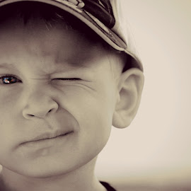 The Wink by Cindy Walker - Novices Only Portraits & People ( 4 years, white, children, candid, winking, boy, portrait, black )