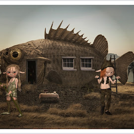 home by Kathleen Devai - Illustration Sci Fi & Fantasy ( fantasy, fish, land, people )