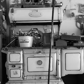 Repurposed by Jennifer Ablicki - Artistic Objects Antiques ( stove, tools, broom, garage )