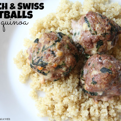 Spinach & Swiss Meatballs over Quinoa