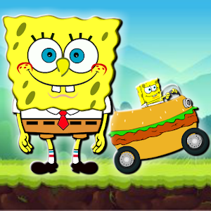 The sponge-bob races and climbs lots of mountains with fast hamburger motorcycle APK Icon