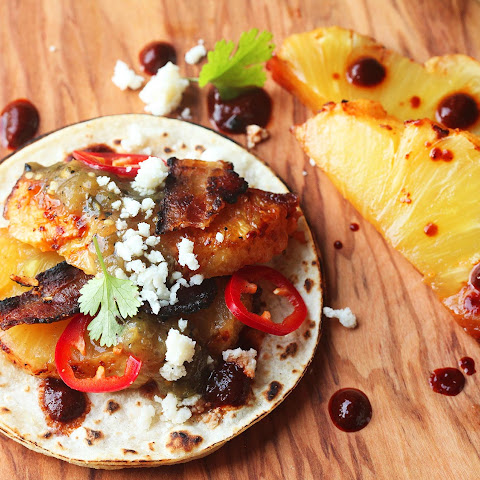 Slow-Roasted Bacon-Wrapped-Pineapple Tacos