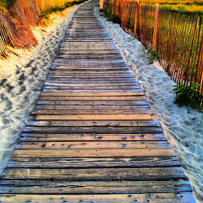 by Heather Walker - Instagram & Mobile iPhone ( sand, wood, path, fences, beach, boardwalk )