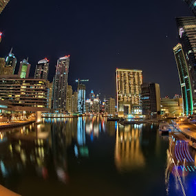 Dubai Marina Fisheye View by Andrew Madali - Buildings & Architecture Office Buildings & Hotels