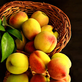Blushing Peaches by Prasanta Das - Food & Drink Fruits & Vegetables ( blushing, ripe, basket, peaches )