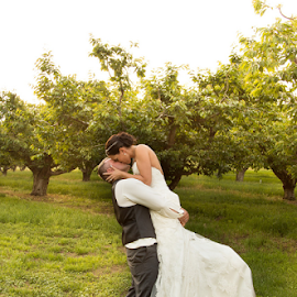 You Lift Me Up by Kate Gansneder - Wedding Bride & Groom ( sunset, wedding, orchard, couple, bride, groom )