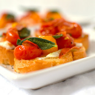 Ricotta and Roasted Tomato Bruschetta with Prosciutto & Sage