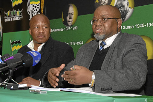 Critical:  ANC parliamentary chief whip Jackson Mthembu and secretary-general Gwede Mantashe.  Picture: ARNOLD PRONTO