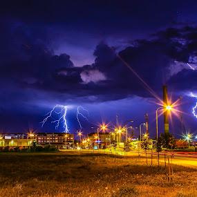 Two Hits by Srdjan Vujmilovic - Landscapes Weather ( thunder, car, clouds, bolt, thunderstorm, grass, street, land, landscape, storm, thunderbolt, city, lights, time, blue, lamp, buildings, weather, cloud, trails, rain,  )