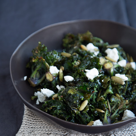 Chili Roasted Baby Kale with Goat Cheese