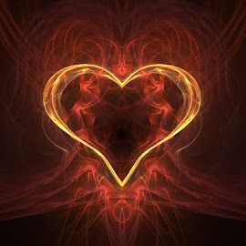 My Heart Yearns for you by Nancy Bowen - Illustration Holiday ( fiery, abstract art, gold heart )