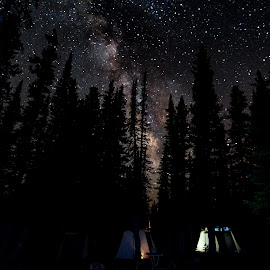 Milky Way Camp by Jeff Harmon - Landscapes Starscapes ( utah, stars, outdoors, tent, trees, night, landscape, starscape, galaxy, nightscape, milky way )