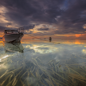 Beyond by Choky Ochtavian Watulingas - Landscapes Waterscapes ( clouds, seaweeds, boats, reflections, cloudy, seascape, sunrise )