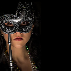 Dark Carnival by Christopher Mazzoli - People Portraits of Women ( female, carnival, woman, mysterious, mask, festival, party, young, mardi gras, black, eyes )