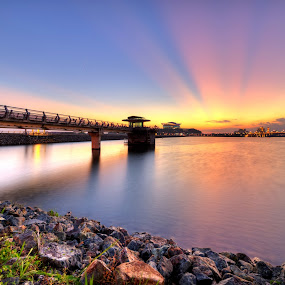 Sunset at Putrajaya Dam by Nadly Aizat Nudri - Landscapes Waterscapes ( sunset, putrajaya, magic hour, malaysia, rol, lake )