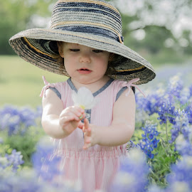 Bluebonnet Babe by Michele Dan - Babies & Children Toddlers ( child, little girl, texas flowers, girl, blue flower, toddler, portraits, flowers, bluebonnets )