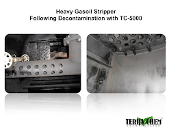 heavy gasoil stripper following decontamination with tc-5000