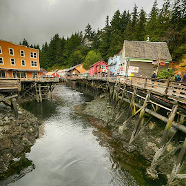 Ketchikan by Nancy Merolle - Buildings & Architecture Public & Historical ( alaska ketchikan, ketchikan, red light district, travel, sidewalk )