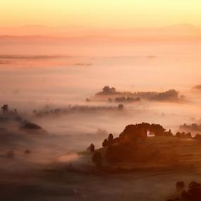 foggy morning by Matej Skubic - Landscapes Sunsets & Sunrises ( foggy, fog, colors, beam light, slovenia, sunrise )