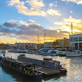 Sunset over Bristol Floating Harbour by Sinclair Parkinson - Landscapes Waterscapes ( canon, barge, basin, centre, harbour, yacht, canon 7d, sun, city, m shed, mast, somerset, fat spanner photography, sail, bristol, water, sinclair parkinson, boat, avon, 7d, sunset, floating, cloud, crane, waterfront )