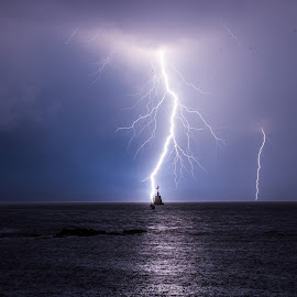 Superb shot by Matic Cankar - Landscapes Weather ( water, thunder, clouds, europe, chasing, no person, sea, storm, landscape, lightning, sky, blue, autumn, night )