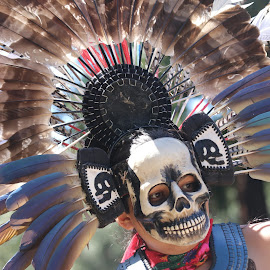 Aztec dancer at a tribal feast. by Robin Rawlings Wechsler - People Musicians & Entertainers ( dancer, person, culture, aztec, headdress, people )